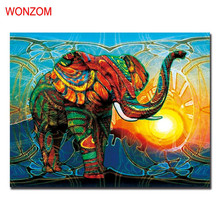 1Pc African Elephant Canvas Painting Abstract Cuadros Decoracion Unframed Wall Picture For Home Decoration 2017 Wall Art Poster(China)