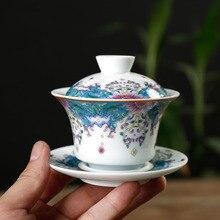 PINNY Color Enamel Gaiwan 130ml Ceramic Kung Fu Tea Cup Jingdezhen Porcelain High Quality Chinese Service