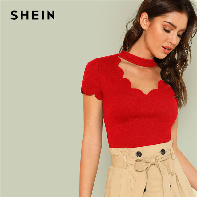 SHEIN Elegant Mock Neck Scallop Trim Cut Out V Collar Short Sleeve Solid Tee Summer Women Weekend Casual T-shirt Top 3