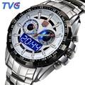 Tvg relogio masculino relojes para hombre de primeras marcas de lujo de zafiro de doble pantalla de cuarzo 100 m impermeable del deporte relojes para hombres