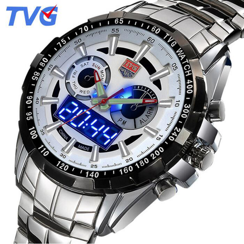 relogio TVG Watches Men Famous Brand Silver Steel Dual Display Quartz Watch Men Sapphire 100M Waterproof