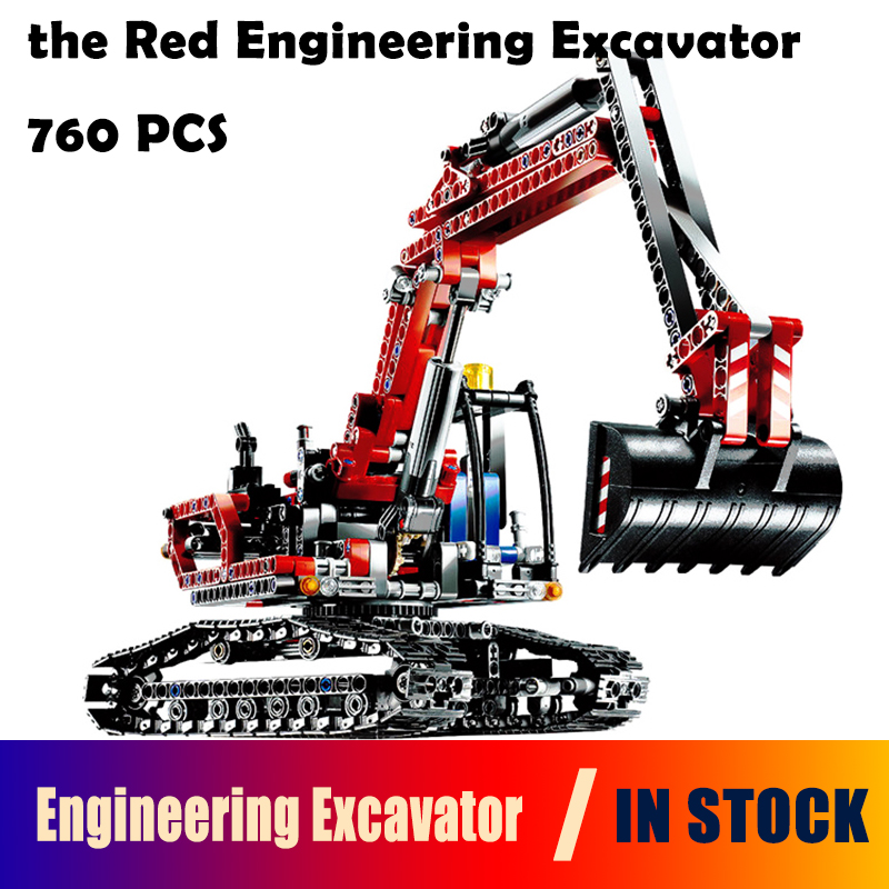 Model Building Blocks 20025 toys Red Engineering Excavator compatible with lego Technic Series 8294 Educational DIY toys hobbies lepin 20025 760pcs technic series red excavator building blocks bricks toys for children gift