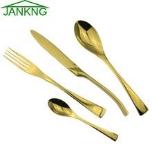 JK Home 24pcs/lot High Quality 24K Gold Cutlery Set Western Stainless Steel Dinner Tableware Fork Knife Dinnerware Set for 6