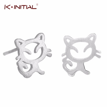 1Pair 925 Silver Animal Kitty Stud Earrings For Women Cute Cat Earings Sterling-silver-jewelry Statement Wedding Party Gifts