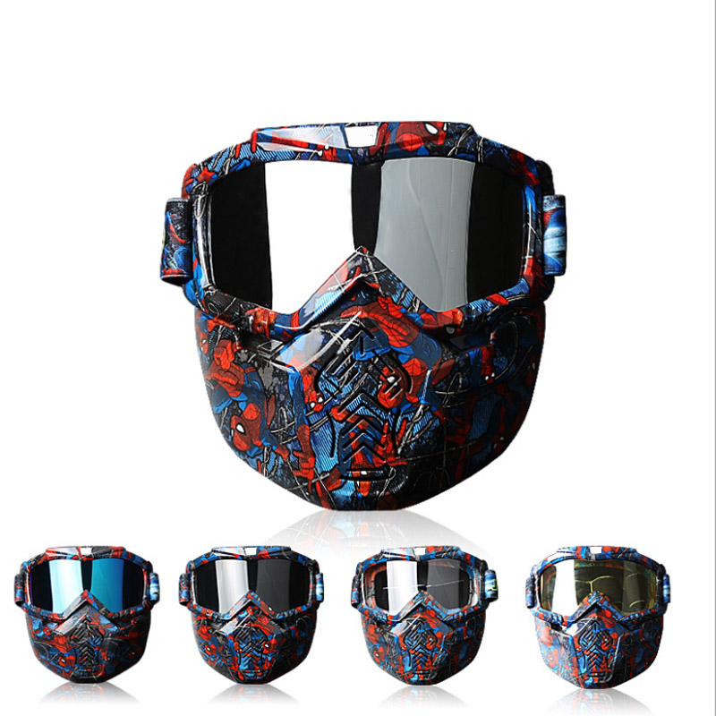 Masque de cyclisme lunettes Hot Face détachable Anti-buée lunettes pour hommes femmes Citycoco Ski vélo moto harley Scooter pièces - 4