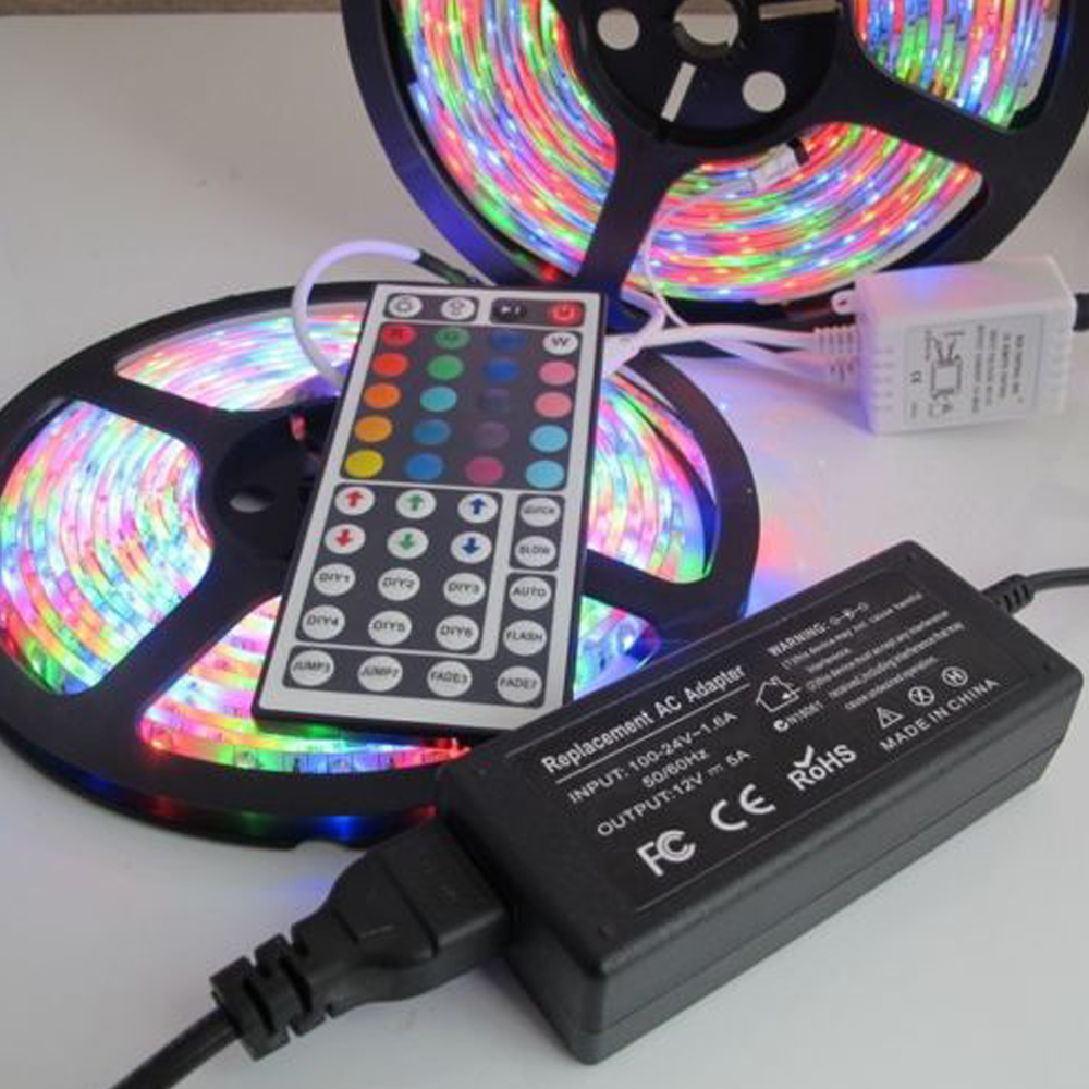 LED Strip light rgb 5m 10m 2835 3528 rgb diode led tape ribbon Waterproof led tape + 44key remote controller + 12V power adapter led strip light 2835 smd rgb led tape 3528 led flexible strip 5m 10m waterproof lamp ribbon remote controller dc12v power supply