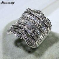 Choucong роскошь большое кольцо Т образной формы 5A Циркон Cz 925 пробы серебро Обручение обручальное кольцо кольца для женщин мужчин Модные украш