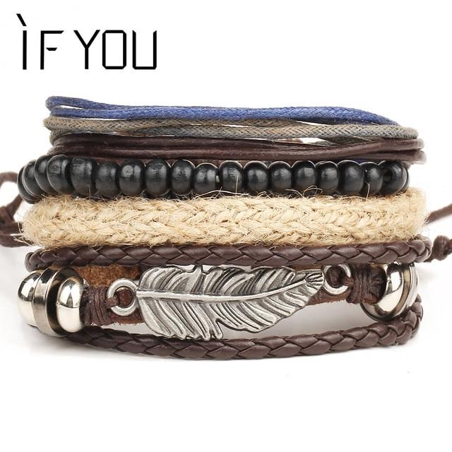 IF YOU Vintage Multilayer Leaf Leather Bracelet For Men Punk Wood Bead Bracelets