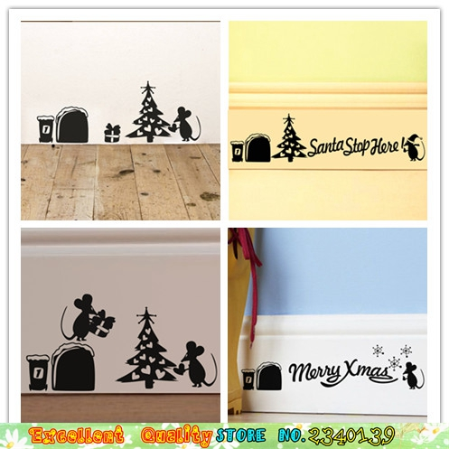 Funny Mouse Hole Merry Christmas Wall Sticker Home Baseboard Wall ...