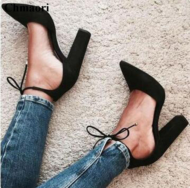 58566d9732b High Quality Women Pointed Toe Suede Leather Lace-up Thick Heel Pumps  Cut-out Ankle Strap Square High Heels Dress Shoes