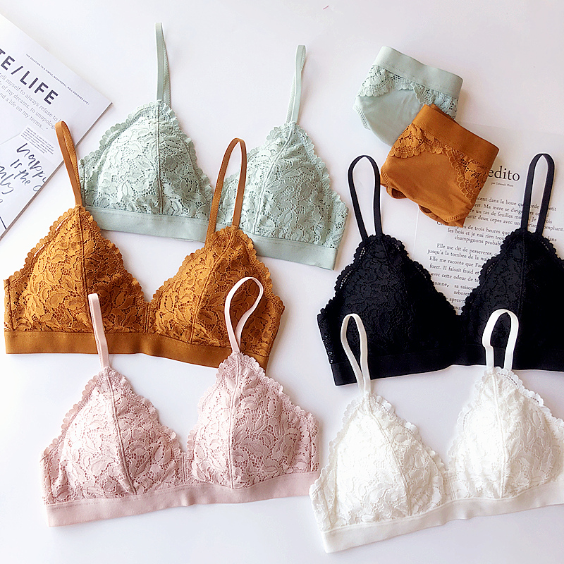6 colors Wire free Cup triangle padded lace sexy young ladies underwear lingerie women bralette and panty set girls intimates-in Bra & Brief Sets from Underwear & Sleepwears
