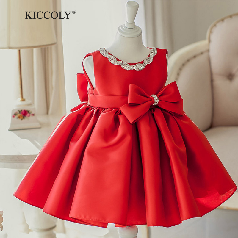 2017 Summer New Baby Girl Dress Red 6M-2T Baby Girls Birthday Dresses Beaded Big Bow Vestido Infant baptism Christening dress pouch multifunctional highchairs portable foldable infant seat chair baby to eat