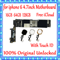 Полная разблокированная материнская плата для iphone 6 4,7 дюйма с/без сенсорной ID логической платой 100% оригинал для iphone 6 материнская плата + Сис...