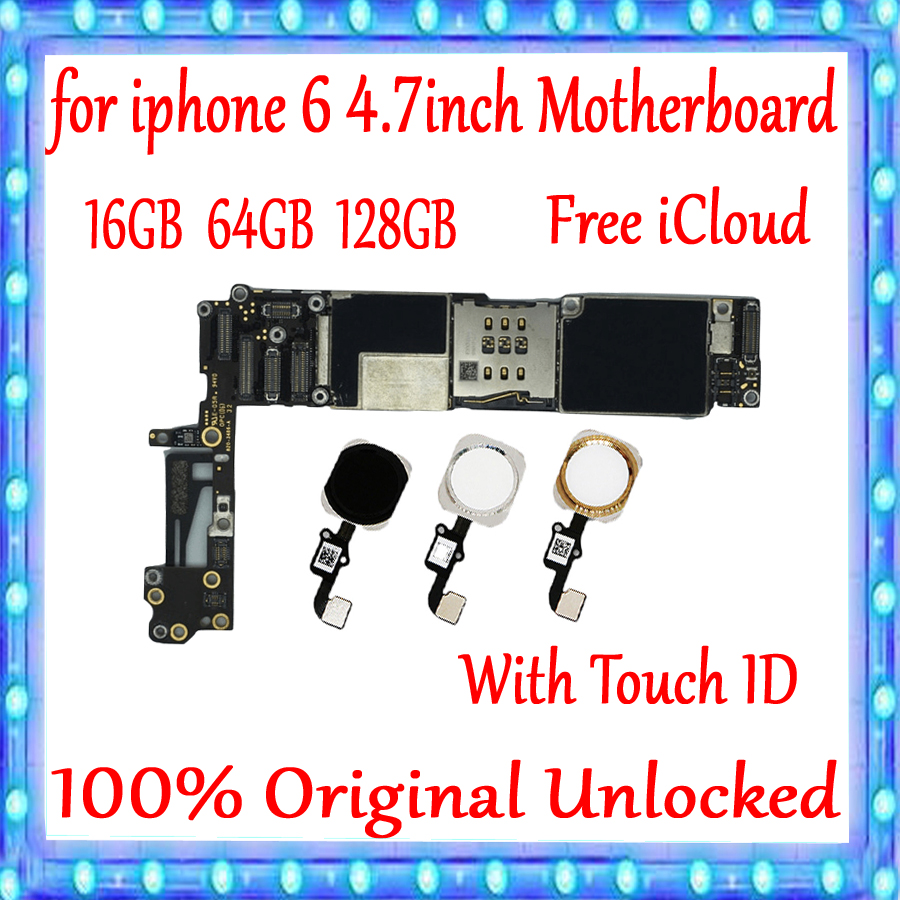 Full Unlocked For IPhone 6 4.7inch Motherboard With/Without Touch ID Logic Board 100% Original For Iphone 6 Mainboard+IOS System