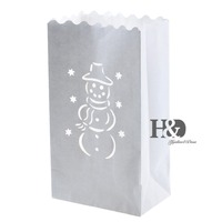 100 PCS White laser cut Snowman Design Tea light Holder Luminaria Paper Lantern Candle Bags BBQ Party Wedding Outdoor Decoration