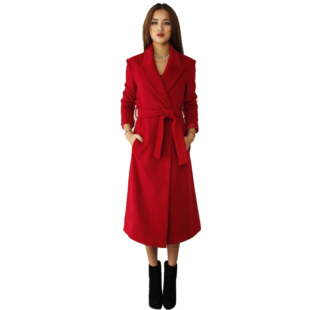 2015 New Arrival Women Trench Coat Fashion Personality Solid Slim Woolen Casual Ladies Long Trench Coat Female Windbreaker  CT79