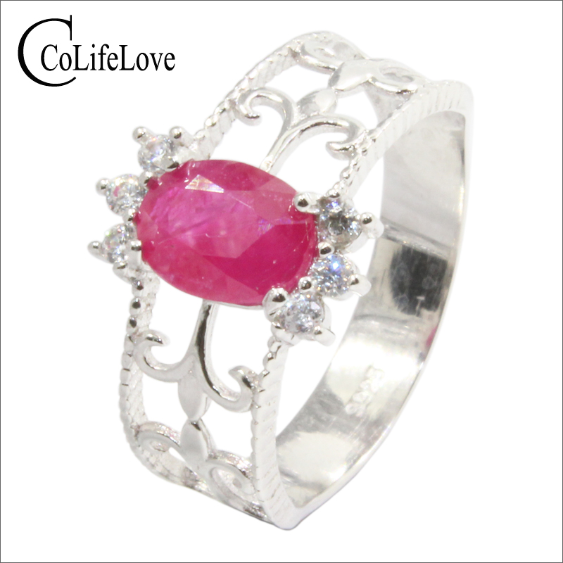 купить Vintage silver ruby crown ring for woman 6 mm * 8 mm natural translucent ruby ring 925 sterling silver ruby jewelry for party по цене 5363.46 рублей