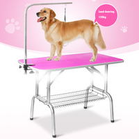 LK668 Foldable Stainless Steel Pet Grooming Table for Small Pet Portable Operating Table Rubber Surface Bath Desk 150kg Bearing
