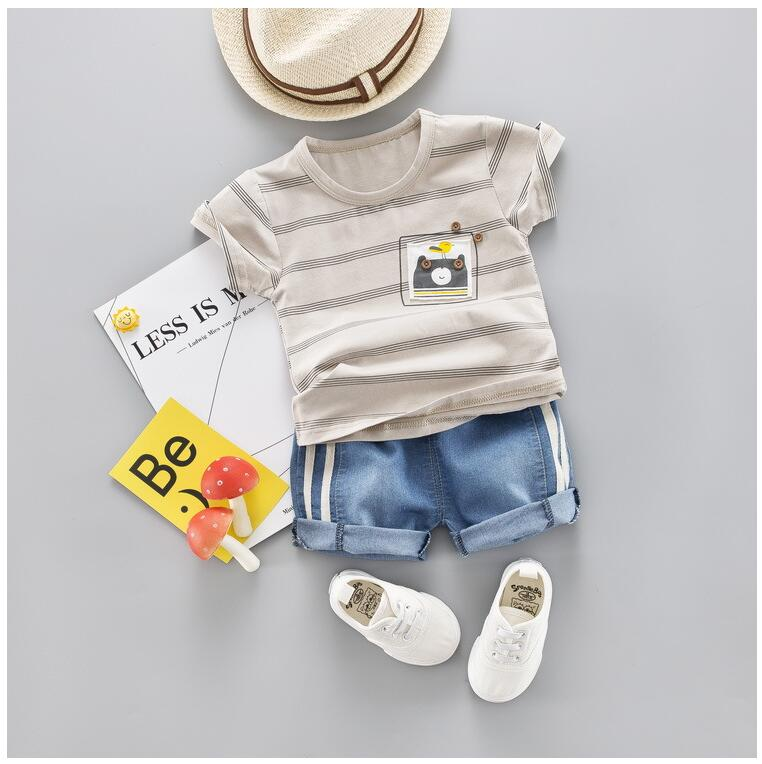 2019 Summer Kids Children Clothes Suits Baby Boys Clothing Sets Striped T Shirt Shorts Infant Toddler Casual Suit in Clothing Sets from Mother Kids