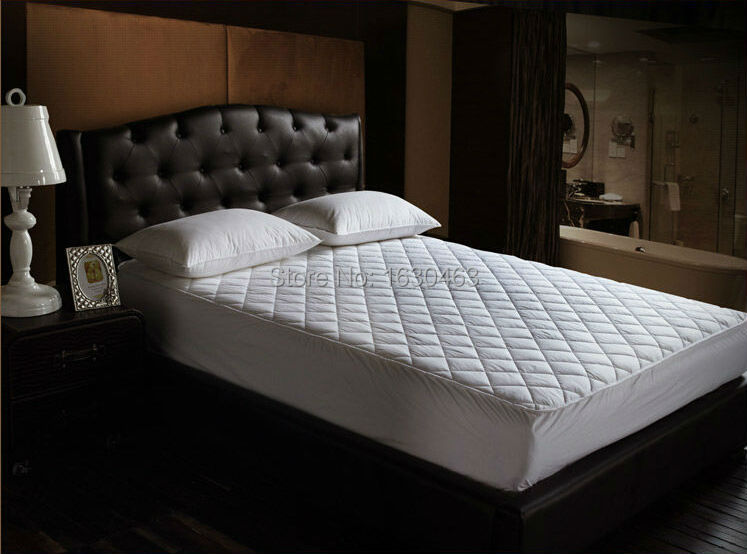 Size 160X200cm Cotton Hotel Mattress Pad Quilt Waterproof Mattress Pad <font><b>Cover</b></font> Protection For <font><b>Bed</b></font> Bug King Size