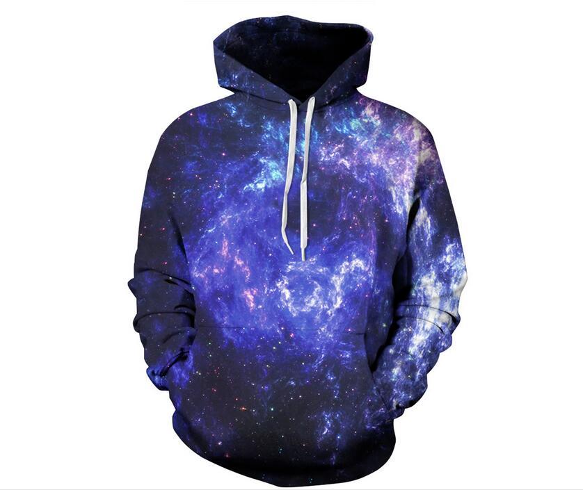 S-XXXL Blue Space Galaxy Sweatshirts Men/women 3d Hoodies Print Thin Hooded Hoodies with hat Christmas Unisex Pullovers Tops