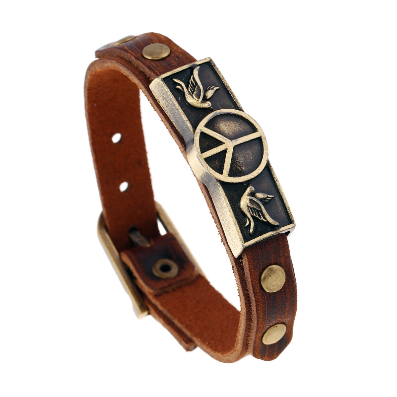 ER Casual Peace Sign Bracelet Male Genuine Brown Cowhide Leather Braslet Alloy Hook Bracelets Men Cool Rock Jewelry LB211