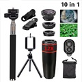 10in1 Fisheye+Wide Angle+Macro+Telephoto Lens For iPhone 5 6S Plus Selfie Stick Monopod Tripod for Samsung Phone Lens 12X10in1