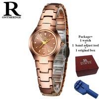 Precio RONTHEEDGE mujer elegante reloj marca famosa lujo oro rosa cuarzo relojes mujer acero antiguo Ginebra reloj de pulsera