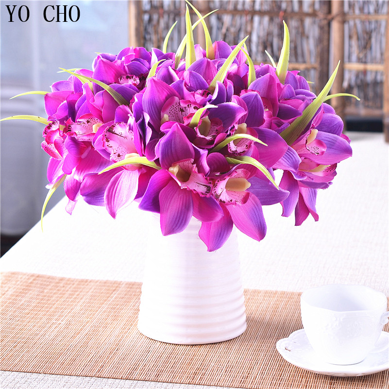 Artificial flowers for wedding real touch orchid silk for Artificial flowers decoration home