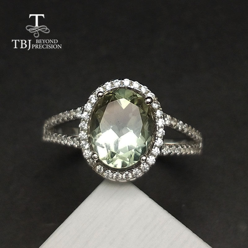 TBJ Classic natural green amethyst quarts gemstone Ring in 925 sterling silver simple shiny jewelry for