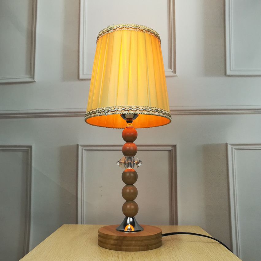 Modern classical table lamp LED wood lightings indoor lights Cloth lamps shade living bed room Office 110v 220v table lamp