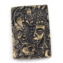 36x51mm vintage style pendant devil & buddha carved Bronze pendant for man for gift for jewelry making free shipping wholesale !