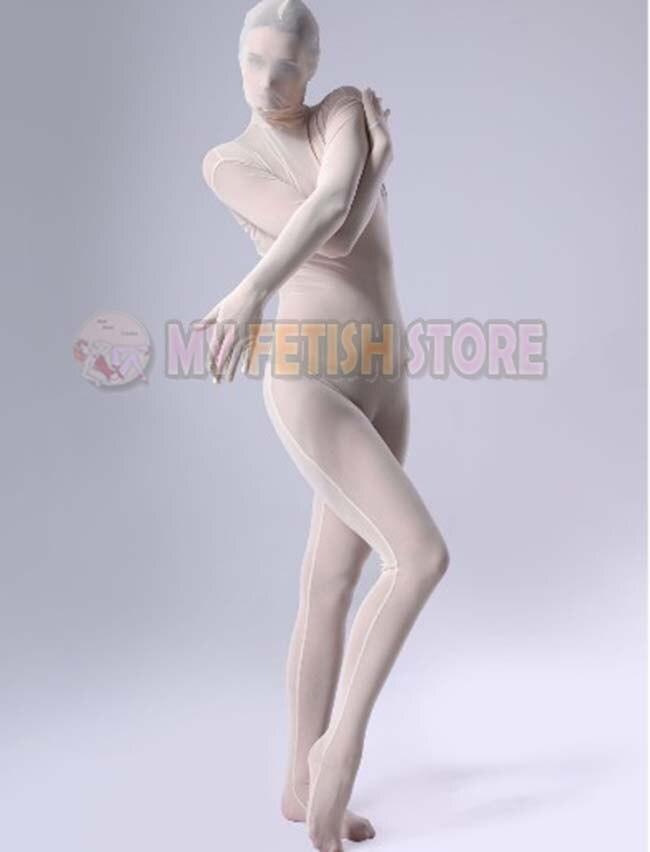 (JXY13) blanc collants transparents de qualité complète unisexe Original pure Body fétiche Zentai costumes
