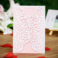 12PCS/lot White Laser Cut Flower Rose Wedding Invitation Cards with Blank Insert Paper Engagement Card Souvenirs Wedding Decor