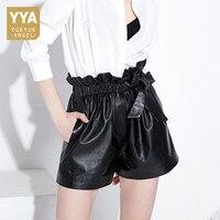 Женские кожаные шорты 2018 новая корейская мода эластичная талия Повседневное оборками милые женские брюки уличная Loose Fit Short