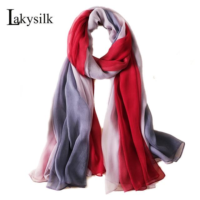 06a45ac146c2e [Lakysilk]New Designer Scarf Women Silk Shawl Print Large Smooth Scarves  Ladies Wrinkle Silk Neck Scarf Wraps Summer Beach Style