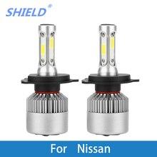 2 шт. автомобильный головной светильник светодиодный H4 H7 H1 H11 COB 8000 лм 72 Вт 12 в автомобильный светильник для Nissan Qashqai Juke Tiida X-Trail Note Kicks Almera