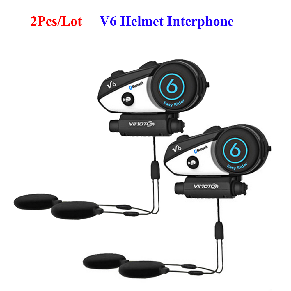 2 Pcs/Lot Vimoto V6 Interphone 2 voies Radio BT Interphone multi-fonctionnel moto BT Interphone pour moteur cavalier système parlant