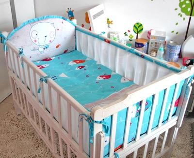 ФОТО Promotion! 5PCS mesh Crib Baby Bedding Set Newborn Crib Bedding Cotton Autumn and Winter Bed Sheet ,include:(4bumper+sheet)