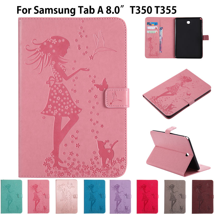 P350 Case For Samsung Galaxy Tab A 8.0 inch SM-T350 T355 SM-T355 Cover Funda Tablet Girl Cat Embossed PU Leather Stand Shell print pu leather case cover for samsung galaxy tab a 8 0 t350 t351 sm t355 tablet cases for samsung t355 p355c p350 8 inch