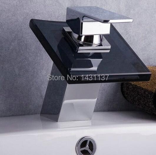 ФОТО fashion high quality brass bathroom water fall faucet  glass basin faucet waterfall mixer