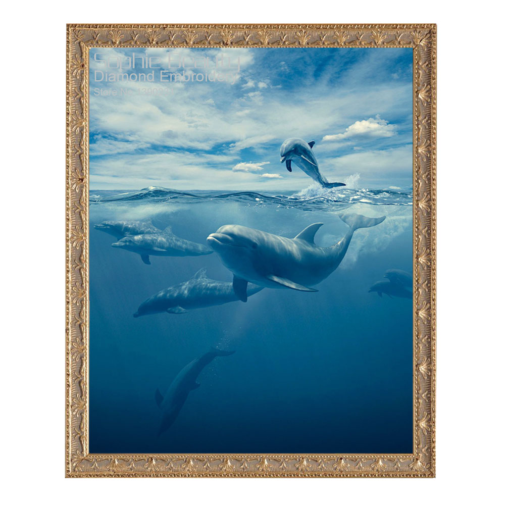 New Animal Dophins Diy Diamond Painting Kit Cross Stitch Square Diamond Embroidery Needl ...