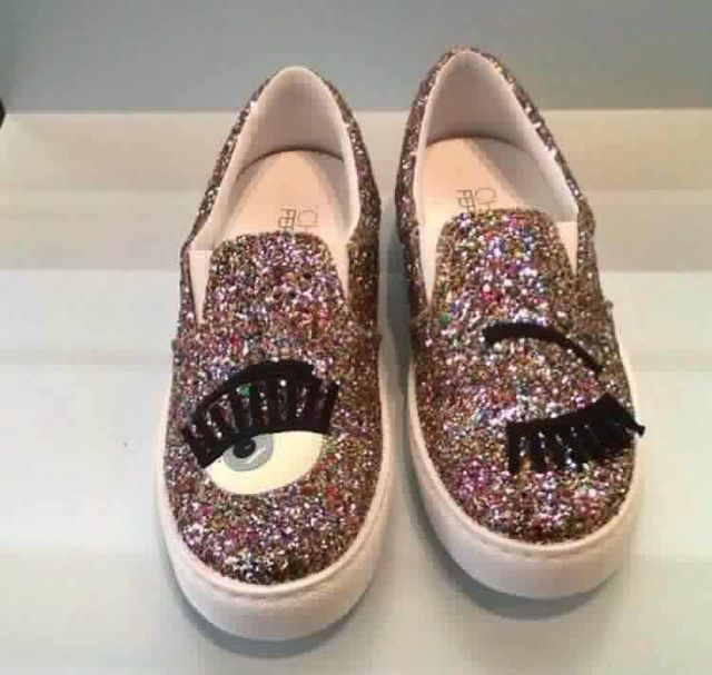739d08ea3fa Chiara Ferragni Spring Women Flat Loafers High Quality Silver Gold Glitter  Lipstick Flats Comfortable Casual Slip on Loafer