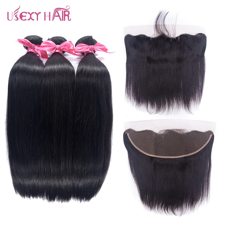 USEXY HAIR Straight Lace Frontal Closure With Bundles Non Remy Brazilian Human Hair Bundles with 13x4 Lace Closure Ear To Ear