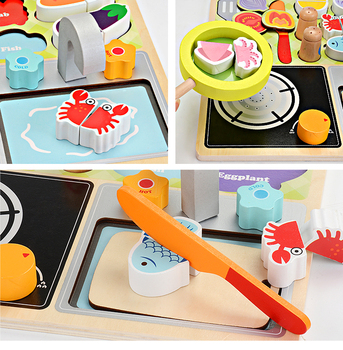 Kids Wooden Kitchen | Baby Toys Simulation Fruit/BBQ/Supermarket Cut Set Wooden Toys For Kids Food  Kitchen Toy For Children Educational Gift