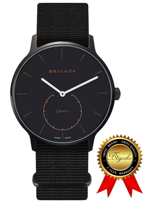 BRIGADA Swiss Bramd Watches for Men, Nylon Band Nice Fashion Cool Black Quartz Men's Watch