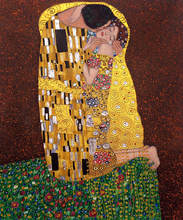 Handmade Wall Painting on Canvas, The Kiss by Gustav Klimt, Abstract Modern Canvas Arts, Figure Oil Painting for Bedroom