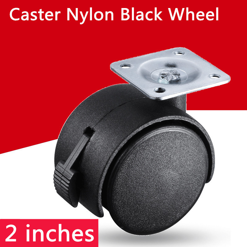 2pcs 2 inch Omni-directional black wheel with brake furniture caster wheel 2pcs 2 inch omni directional flat black swivel nylon furniture caster wheel zinc alloy plate with brake