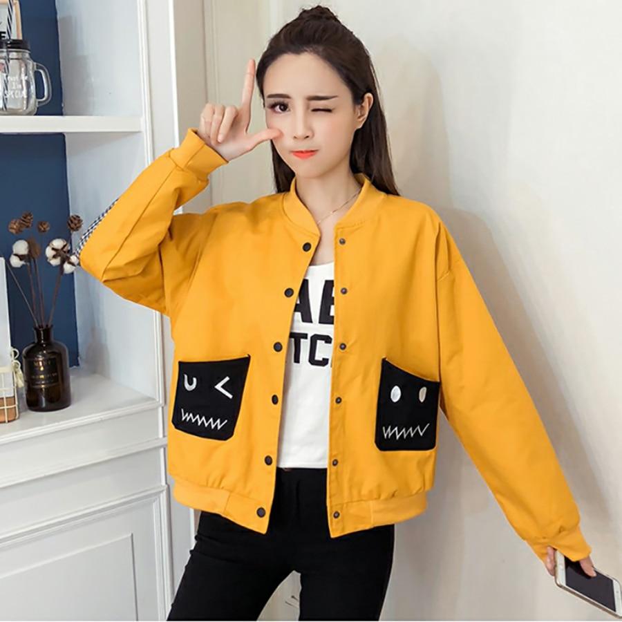 Streetwear Noir Surdimensionné Coréenne yellow Femmes Harajuku Hip Vêtements 50b057 Plus 2018 Baseball Black Hop Manteau Taille La Veste Automne Bomber rxrPSOqv