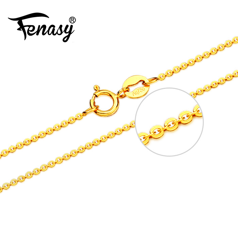 FENASY Genuine 18K Yellow Rose Gold Chain Cost Pure 18K white Gold Necklace for love Best